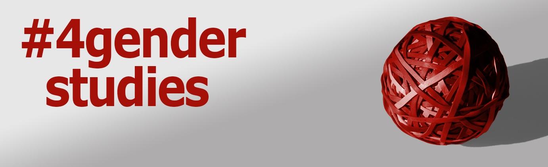Slidergrafik mit hellgrauem Hintergrund. Links in roter Schrift #4genderstudies, rechts im selben Rotton ein Gummibänder-Ball: Grafik: Marco Lutz, Amelie Menzel, Katrin Frisch (image used by EEPROM Eagle, shared by CC-BY-SA 2.5)