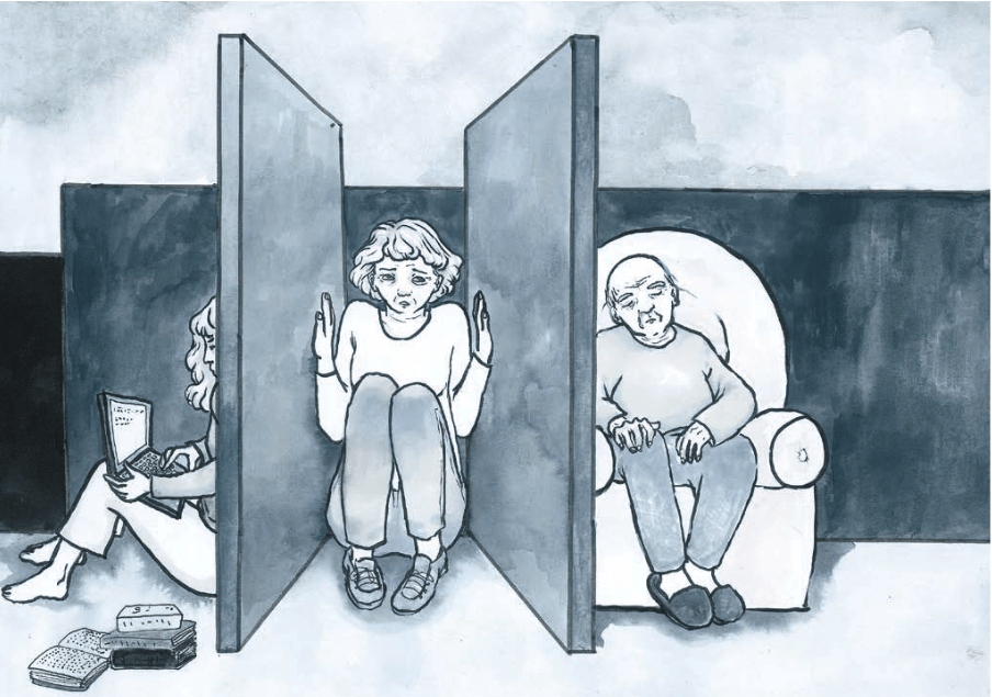 The double care burden of the so-called 'sandwich generation', i.e. those who care for both children and elderly family members, came up several times during the focus group interviews. Picture drawn by Emma Krasznahorkai, see Nőügyek 2018 (Women's Affairs 2018), p. 19.